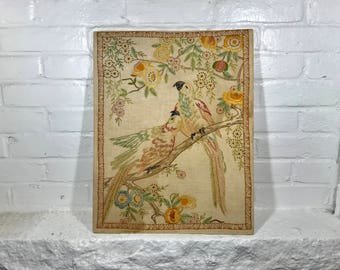 vintage parrot bird handmade needlepoint fiber art