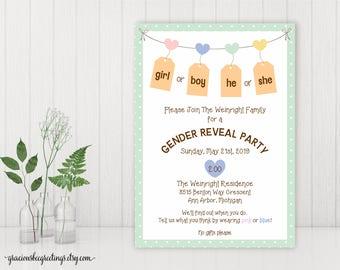 Gender Reveal Party Invitation, Baby Shower, Couples Baby Shower Invite, Gender Reveal Announcement, printable, digital, GR12852