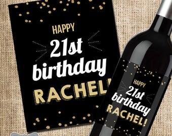 21st Birthday Gift for Her, 21st Birthday Wine Label, 21st Birthday Gift, Friend Birthday Gift, Birthday Wine Label Gift, Friend Wine Label,
