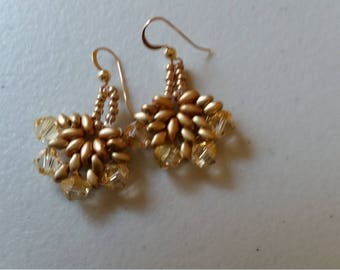 Gold and Crystal Leaf Earrings