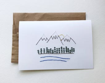 Mountain Scene Blank Card | embroidered, embroidery, gift, card, thank you