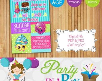 Shopkins Invitation Printable Digital File
