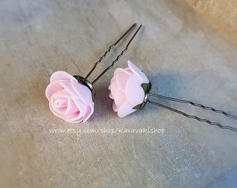 Wedding hair pins,Flower girl hair pin,Blush Bridesmaid bridal hair pins,Light pink rose hair pin,U shape hair pin,Wedding hair accessories