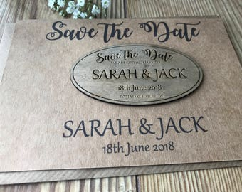 Oval Save the date wooden magnets