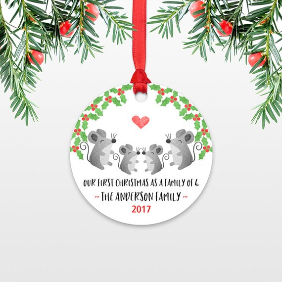 New Baby Christmas Ornament Christmas Family Ornament New Parents Our First Christmas as a Family of Four 4 Mice Mouse Personalized Ornament