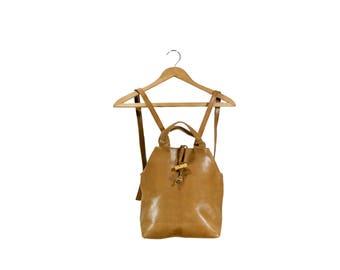 Light Brown Vegan Leather Backpack Purse // Brown Leather Backpack Purse // H266