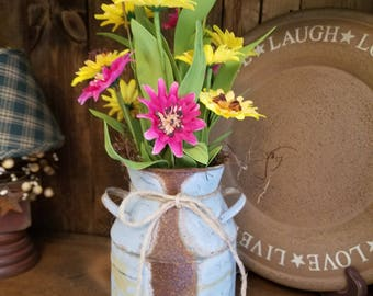 Spring flowers,  summer flowers,  country decor,  galvanized can