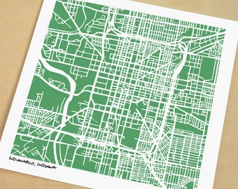 Indianapolis Map, Hand-Drawn Map Print of Indianapolis, Indiana