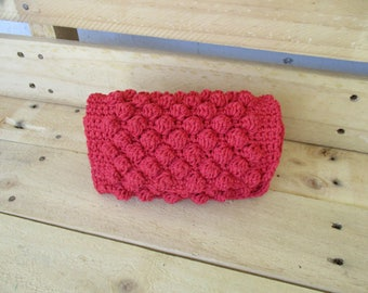 Hand knitted red wallet, for women, for you .