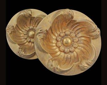 Pair Tiebacks Bronze Curtain Circular Floral Design