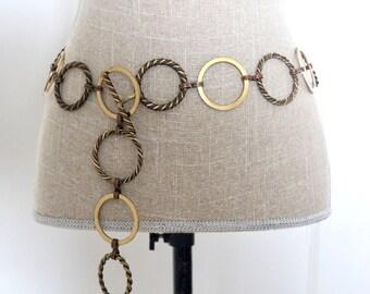 Vintage metal chain link belt / Vintage Metal Belt / Vintage Chain Belt / Vintage Copper/ Twisted Metal Belt / Vintage Circle Belt