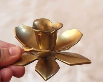 Vintage brass Flower Candle holders / Brass Ornate Candle Holders / Vintage Brass Lotus Candle Holders / Vintage Boho Candle