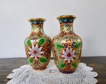 Sale Pair of Mini Cloisonne' Vases