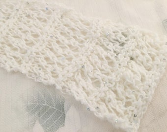 Lace Knitted Scarf, Accent Scarf, Ivory Scarf, Sparkly Scarf, Sequin Scarf, Scarf Gift, Handmade Scarf, Hand Knitted Scarf, Short Scarf