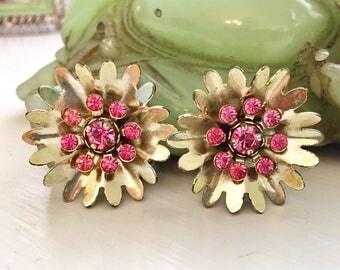 Vintage Flower Earrings with Hot pink Rhinestones
