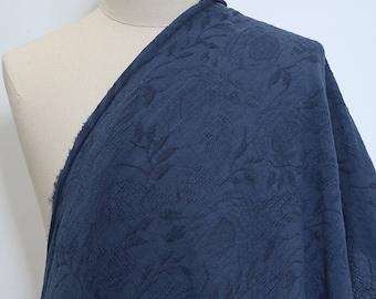 Blue Floral Linen Cotton Fabric Half Metre GZ716
