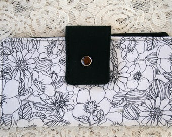 Womens Wallet, White with Black Floral Print,  Bifold Wallet, Slim Fabric Wallet, Credit Card Wallet, Cash Wallet