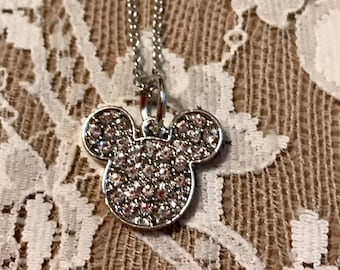 Vintage, Petite Necklace.  'Mr. Mickey' Head  Encrusted With Rhinestones.  Silver Tone Chain