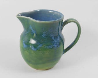 Small pottery pitcher - pottery creamer - small blue vase - carved blue pitcher - blue ceramic pitcher S138