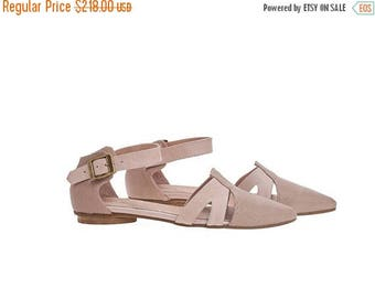ON SALE Blush pink textured leather sandals, Vivian, flat buckled sandals