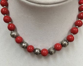 Hand-Crafted Bright Red Beaded Necklace Glass Beads