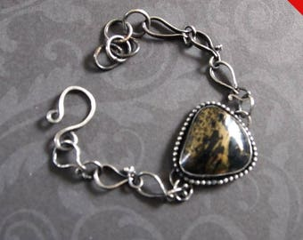 Natural Stone Bracelet, Handmade Sterling Silver Chain, Pyrite and Silver Bracelet, Black and Gold Stone Bracelet, Shillyshallyjewelry