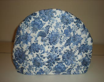 Tea Cozy, Blue Floral Print on a White Background