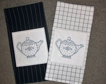 Hand Embroidered Tea Towels - Teapots- Bluework - Set of Two