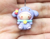 MADE TO ORDER - Cute Girl with Lilac Dog Costume Necklace