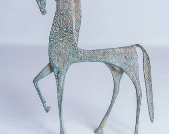 Vintage Art Collectible Bronze Horse Statuette Stylized Ancient Persian Or Greek Form