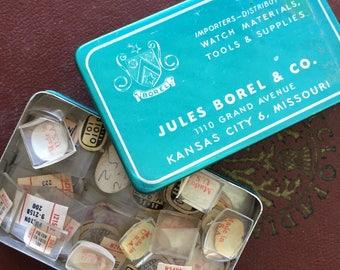 Vintage Jules Borel étain rempli de cristaux de montre Vintage assortis