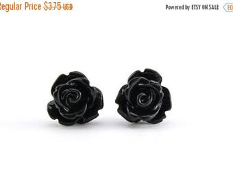 25% OFF SALE Tiny Black Rose Earrings, Halloween Jewelry, Bridesmaids Gift, Under 5