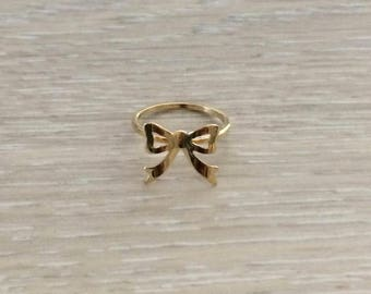 Ribbon Ring, Bow Ring, Gold Ring, Stack Ring, Arrow Ring, Thin Ring, Knuckle Ring