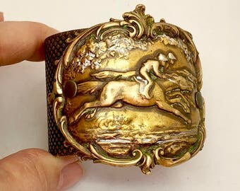 Wide Brass Equestrian Cuff