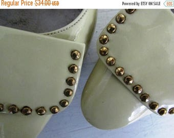 30% Off Flash Sale 1960s yellow heels | vintage 60s yellow studded patent leather heels | patent leather heels | 7 size | The Mari Patent Le