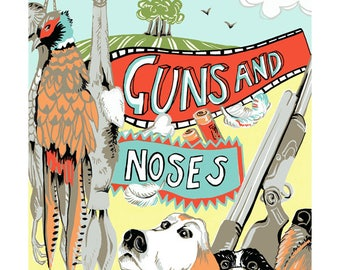 Guns and noses greeting card by Kate Cooke