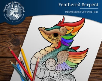 Feathered Serpent Quetzlcoatl Downloadable Coloring Page