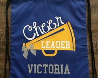 Cheerleader Glitter Sparkle Drawstring Bag/Backpack, Cheer Bag