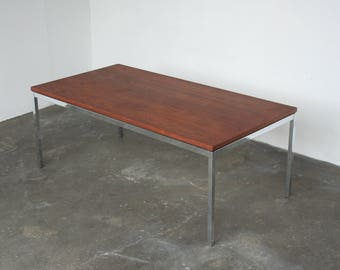 Authentic Florence Knoll Rectangular Coffee Table With Walnut Wood Top +  Polished Chrome Frame
