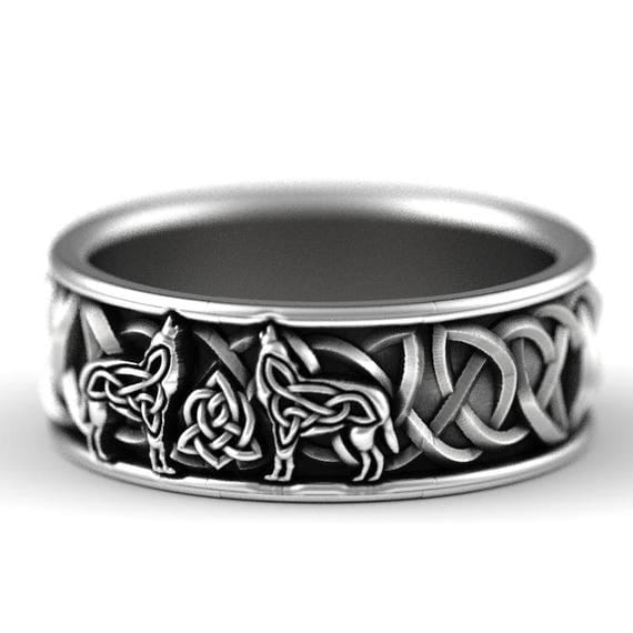 Sterling Silver Celtic Wolf Ring, Wolf Wedding Band, Celtic Animal Ring, Wolf Jewelry, Norse Ring Custom Ring Design 1170