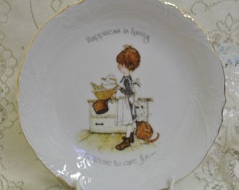Vintage Holly Hobbie 20cm dish bowl Happiness is having someone to care for