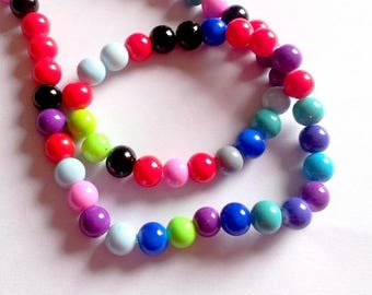 Set of 55 colorful glass beads, 8mm
