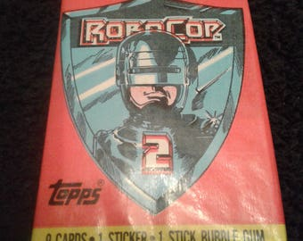 Unopened Topps Robocop 2 Wax Pack Trading Cards Collectible Gift for Him 1990