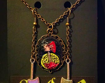 Bloody Hatchet Necklace and Earrings Set