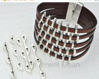 ON SALE Basket Weave Components for 5MM Flat Leather - Antique Silver - Flat Leather Findings
