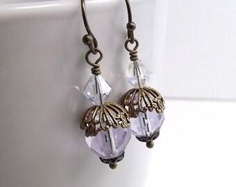 SUMMER SALE Antique Brass Earrings with Czech Firepolish Lilac Beads