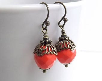 END Of SUMMER SALE Antique Brass Earrings with Czech Firepolish Red Orange Faceted Beads