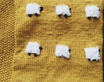 "Gold ""Little Sheep"" Baby Blanket"
