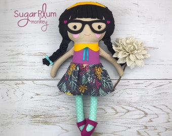 Made To Order Cloth doll with glasses - Fabric Doll - Dress Up Doll - Handmade Doll - Rag Doll - Room Decor - Heirloom Doll