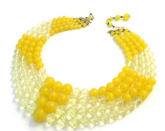 W. Germany Four Strand Plastic Beaded Necklace, Brilliant Yellow Beads, Mid-Century Big Bold Statement Necklace